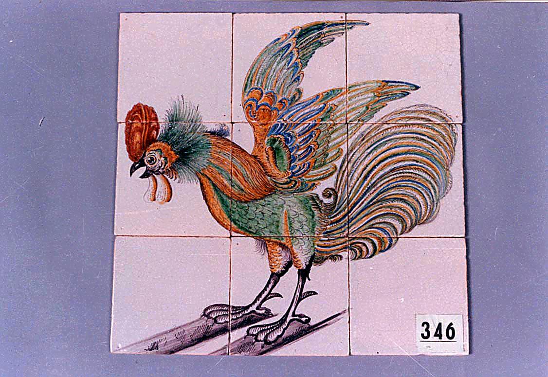 Fliesentableau Hahn, polychroom gemalt