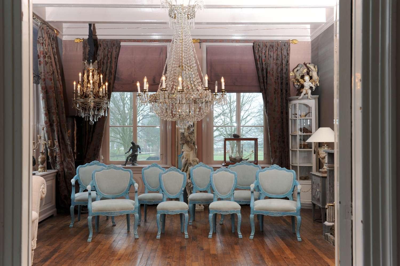 Set van zes antieke Franse stoelen