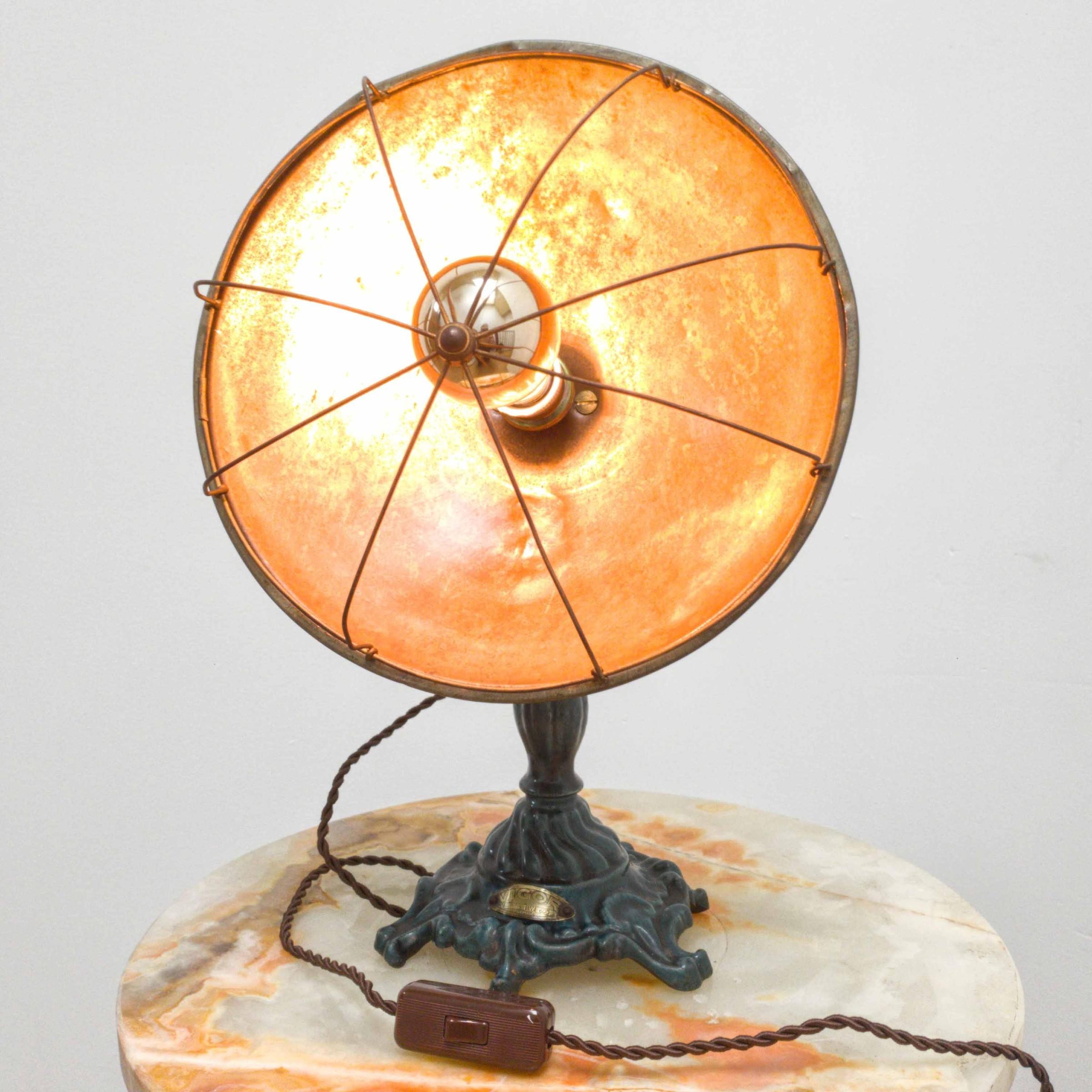 Alte industrielle Tischlampen aus Kupfer oder Gusseisen