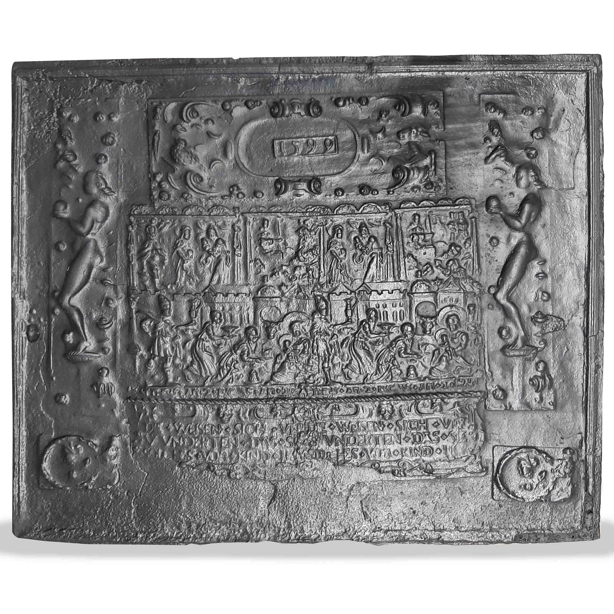 Antikes Hertplatte aus dem 16. Jahrhundert mit Darstellung der Geburt Christi