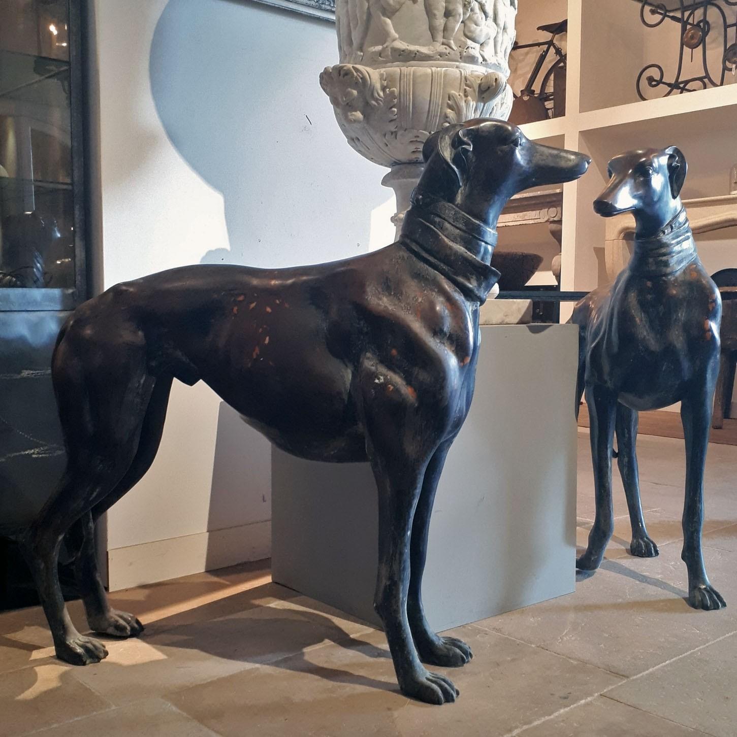 Set große Windhunde aus Bronze