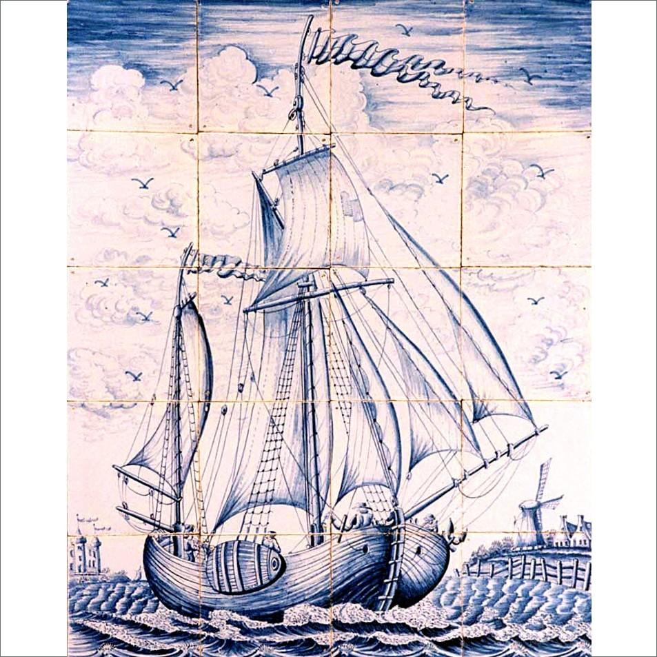 Fliesentableau eines Segelschiffes