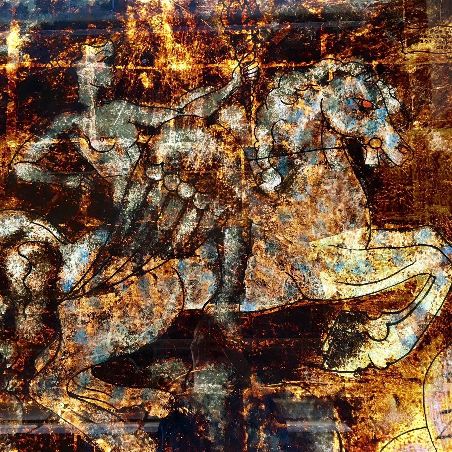 Fünf sehr große Hinterglasbilder mit mythologischen Szenen