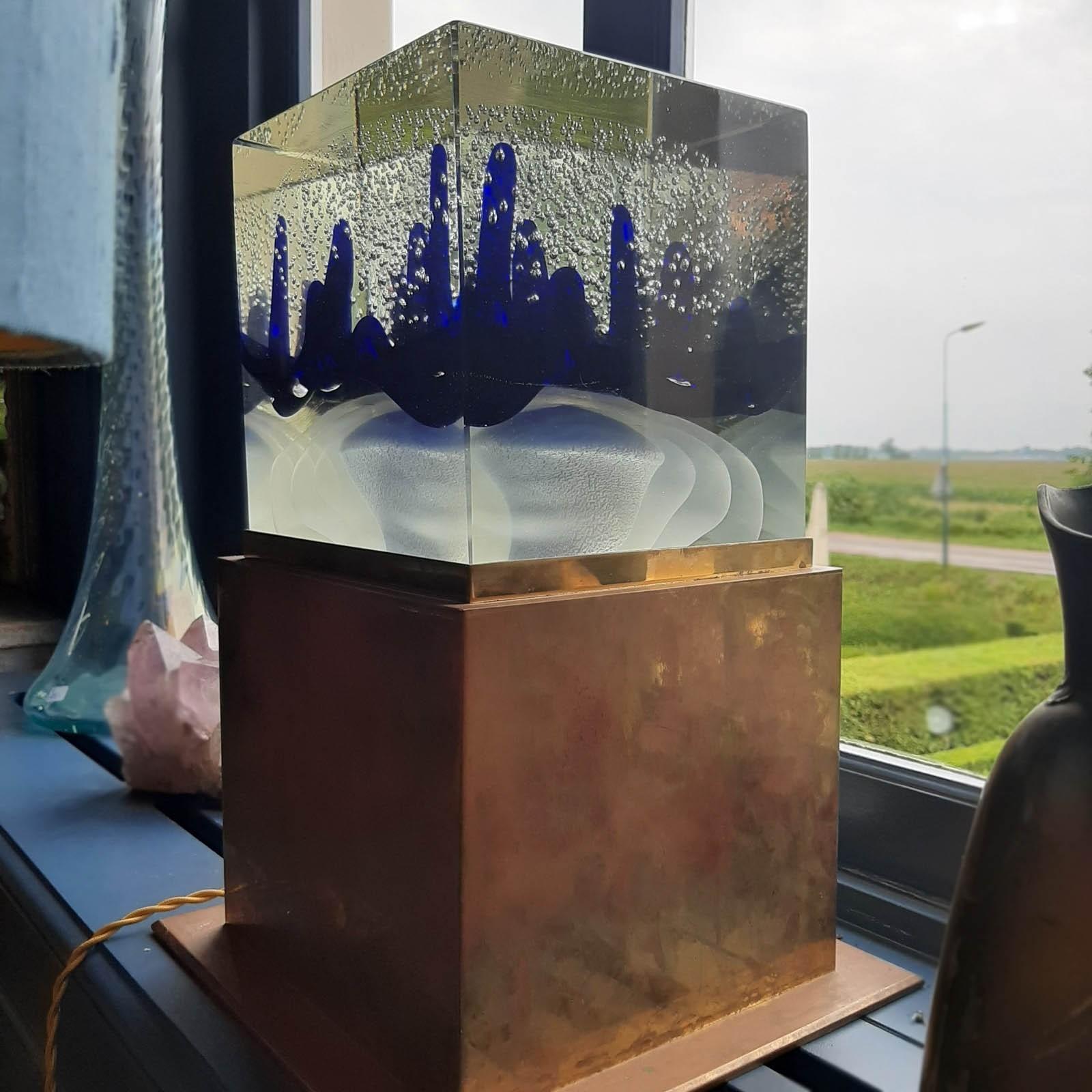 Murano Design Lampe aus Glas und Kupfer