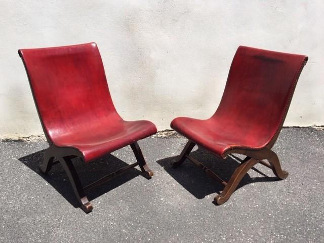 Paar rote Pierre Lottier Slipper Stühle für Valenti