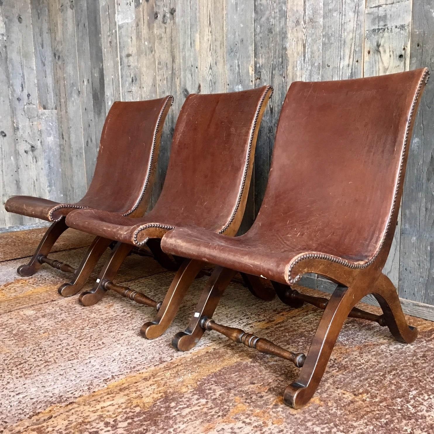 Slipperchairs, Drei 20s Stühle aus Spanien