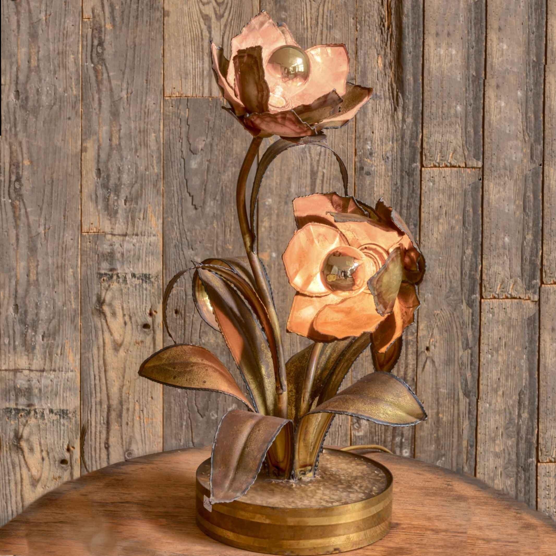 Vintage Messing Blumenlampe von Maison Jansen
