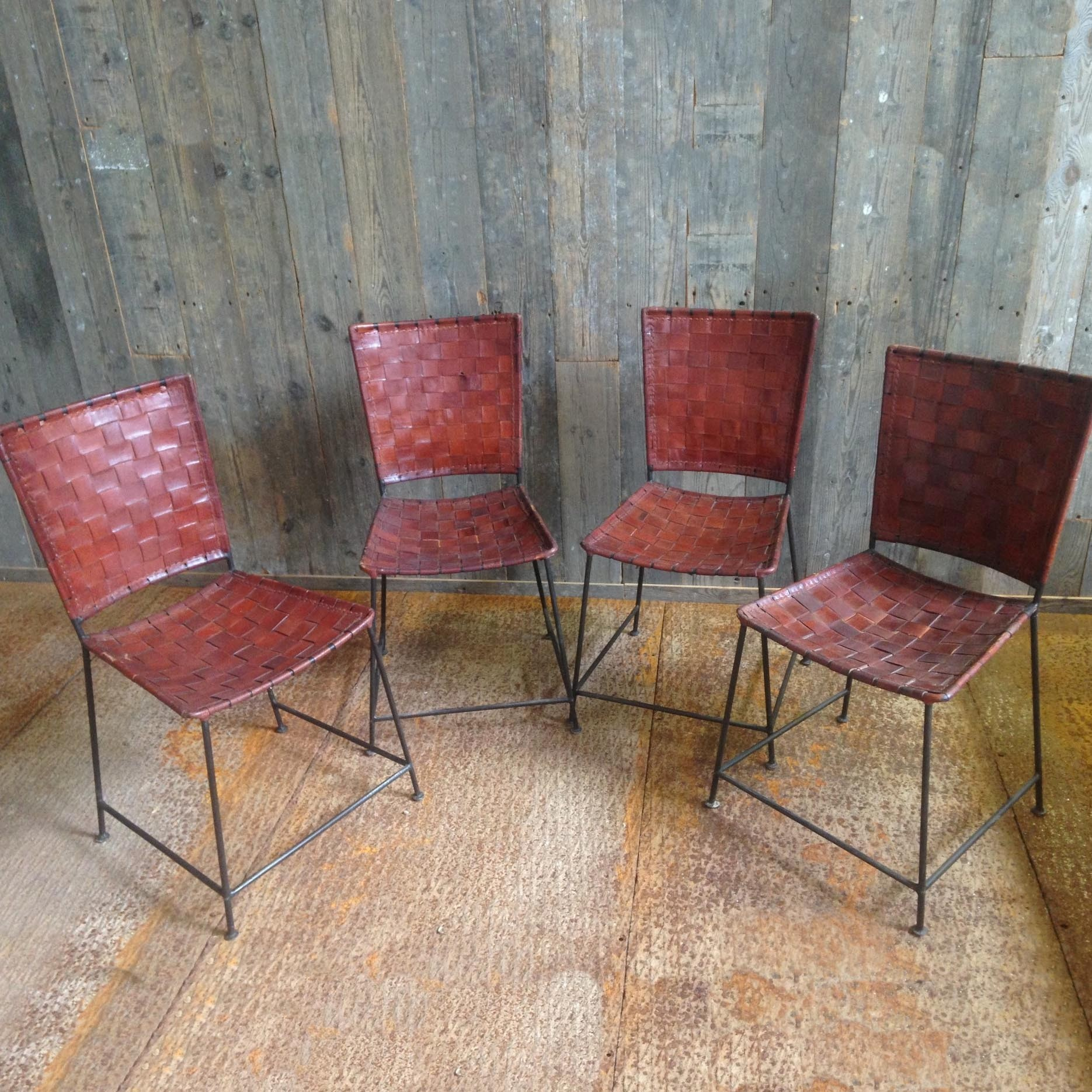 Vintage Stühle mit geflochtenem Leder