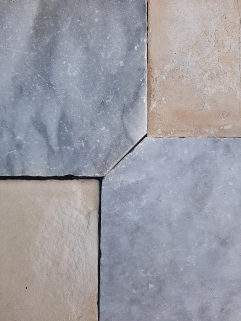 Antiker Burgunderstein und graue Marmor achteckige